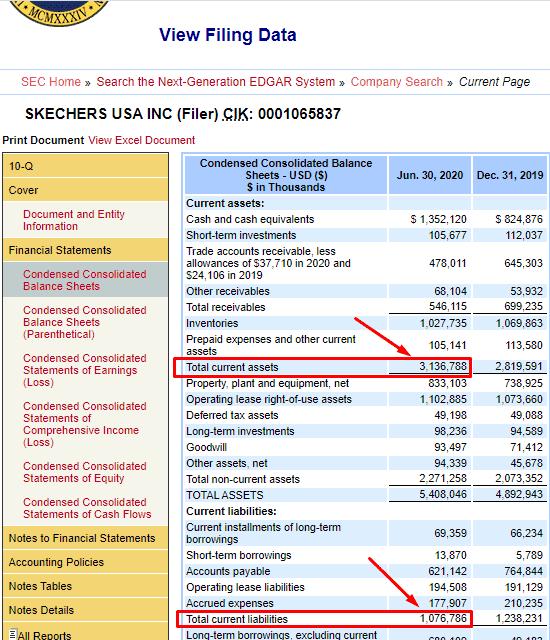 значения Current Assets и Current Liabilities в балансовом отчёте на SEC