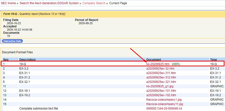 Кликаем по ссылке отчёта SEC, чтобы открыть его