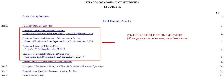 Находим меню в отчёте SEC